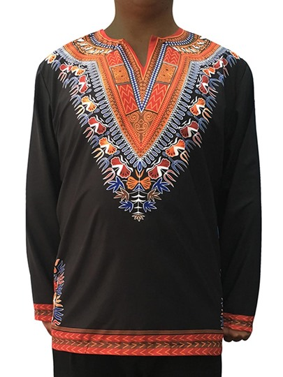 Dashiki Dress African Ethnic Print Slim Fit Men's Long Sleeve T-Shirt