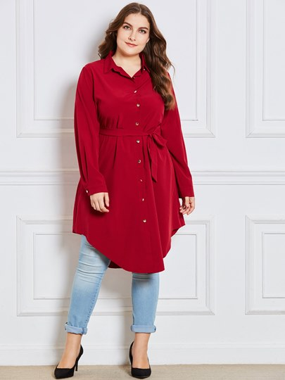 Irregular Button Lace-Up Plus Size Women's Shirt