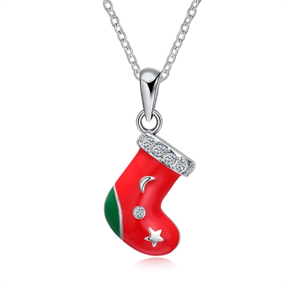 Christmas Alloy Oil Drip Red Bronze Stocking Necklace