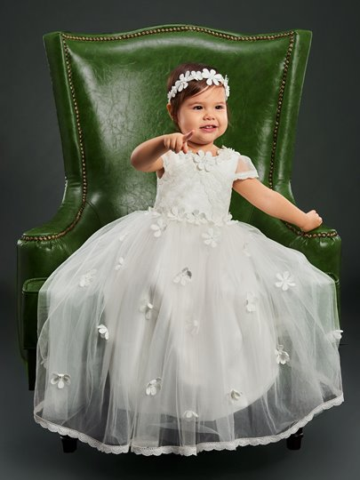 Lace Round Neck Flowers Infant Baby Girl Christening Gown