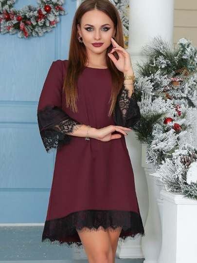Plain Lace Patchwork Straight Women's Day Dress