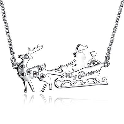 Christmas Sleigh Car Shaped Bronze Zircon Necklace