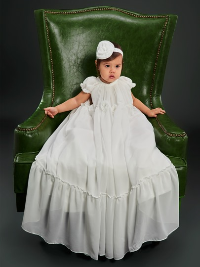 Cap Sleeve Flowers Infant Girls Baptism Christening Gown