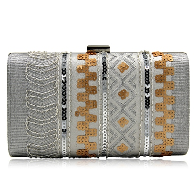 Shining Sequins Embroidered Design Evening Clutch