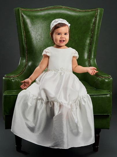 Cap Sleeves Appliques Baby Girls Christening Gown for Baptism with Hat