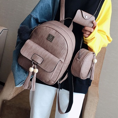 Preppy Chic Tassel Beads Decoration Backpack