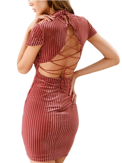 Velvet Turtle Neck Women's Open Back Dress