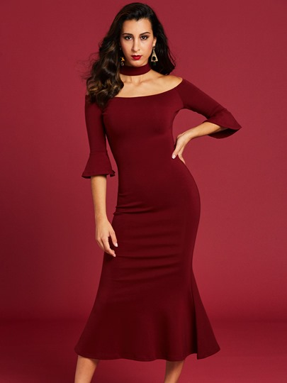 Stand Collar Flare Sleeve Women's Bodycon Dress