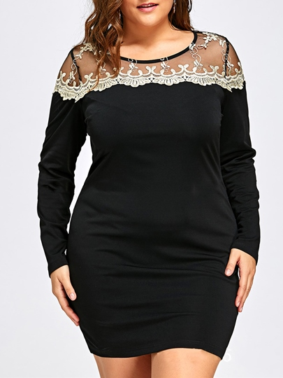 Plus Size See-Through Women's Bodycon Dress