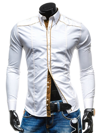 Lapel Striped Men's Long Sleeve Casual Shirt
