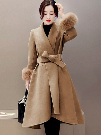 Wide Lapel Lace up Faux Fur Sleeve Women's Overcoat