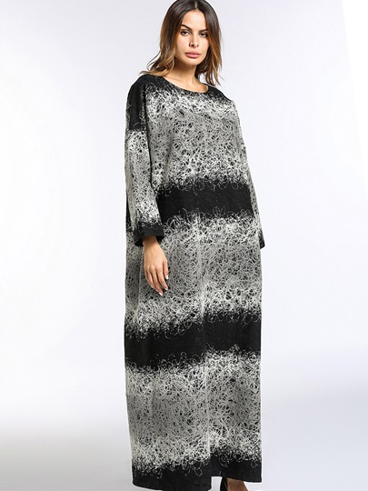 Gray Long Sleeve Loose Women's Maxi Dress