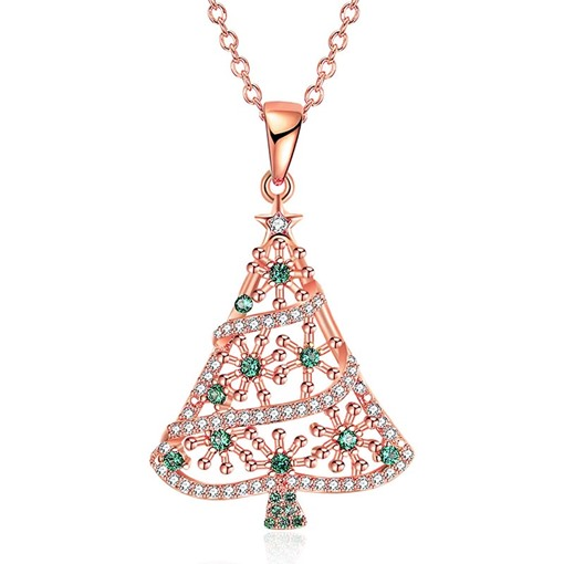 Christmas Hollow Out Zircon Silver Plated Tree Necklace