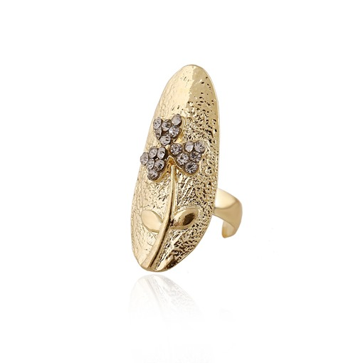 Diamante Clover Gold Plated Nails Ring
