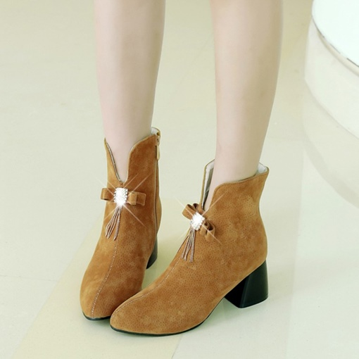 Suede Bow Fringe Chunky Heel Women's Ankle Boots