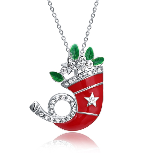 Christmas Red Oil Drip Diamante Hat Necklace