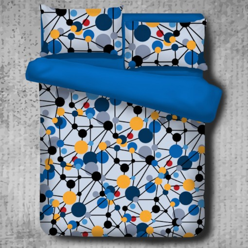 Blue Spotted Flashbulb Printed Modern Style Polyester 4-Piece Bedding Sets/Duvet Cover