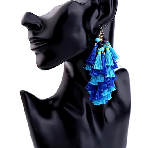 Color Blocking Alloy Beads Tassel Earrings