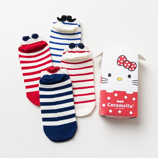 4 Pair Stripe Animal Ears Shaped Women's Cute Sock Slippers