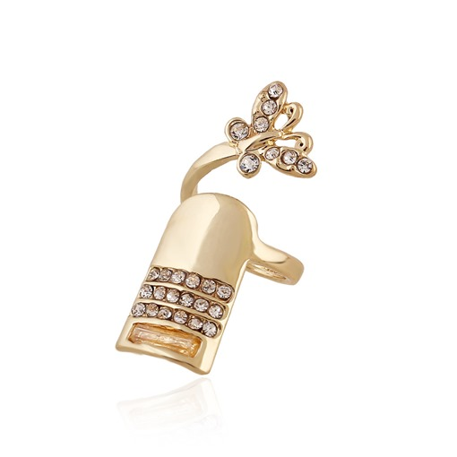 Diamante Butterfly Shaped Nails Ring