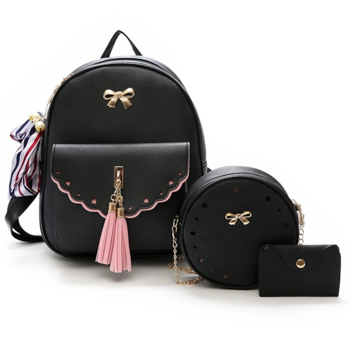 Korean Style Bowknot Decoration Women Bag Set