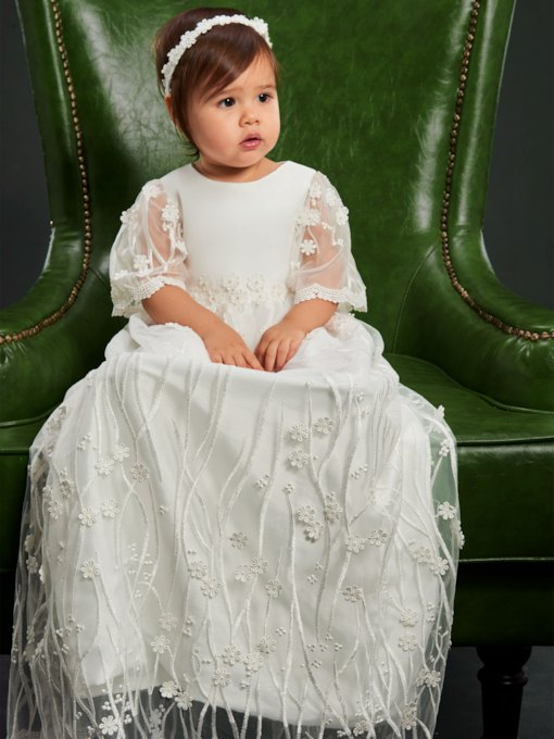 Embroidery Lace Christening Baptism Dress