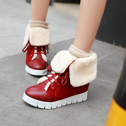 Turn Cuff Boots Warm Wool Winter Shoes(Extra Size)