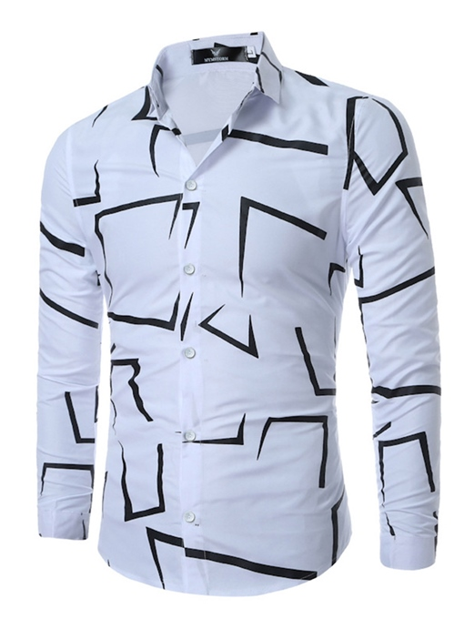 Lapel Print Single-Breasted Men's Long Sleeve Shirt