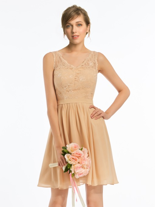 Lace Top Sashes Short Bridesmaid Dress