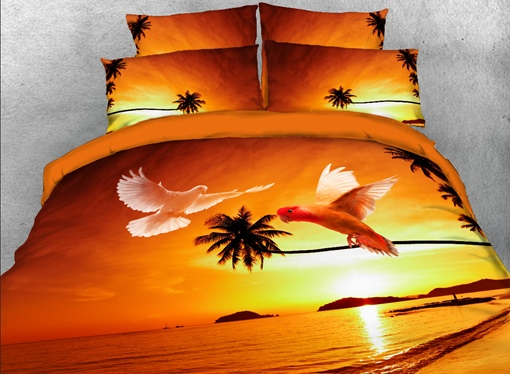 Flying Doves and Tropical Beach Printed 4-Piece 3D Bedding Sets/Duvet Covers