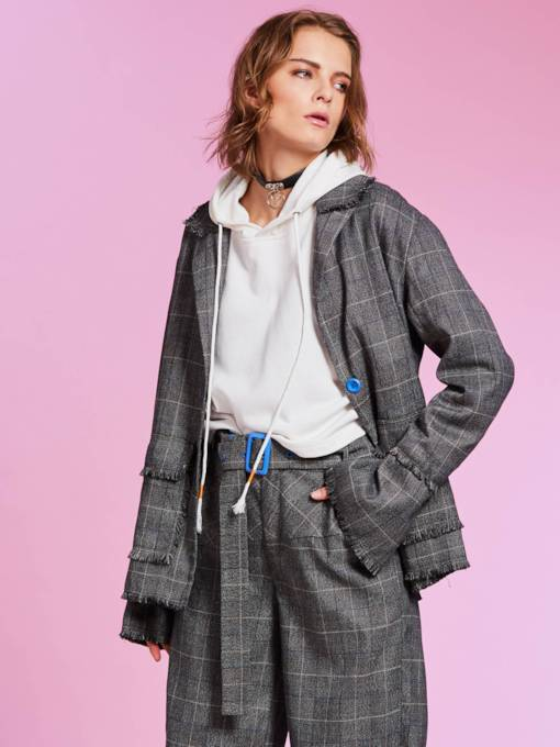 Notched Lapel Single-Breasted Plaid Women's Jacket