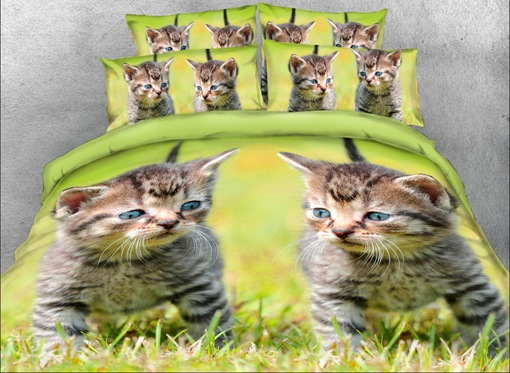 Kittens on the Grass Printed 4-Piece 3D Bedding Sets/Duvet Covers