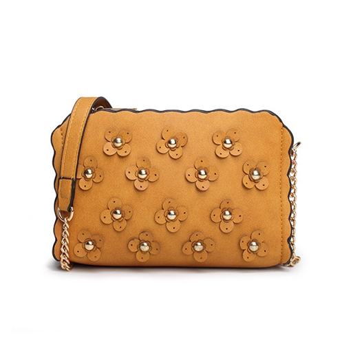 Causal Floral Decoration Solid Color Cross Body Bag