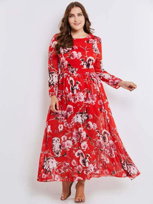 Red Plus Size Printing Women's Maxi Dress