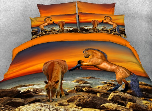 Brown Horse by the Sea 4-Piece 3D Bedding Sets/Duvet Covers