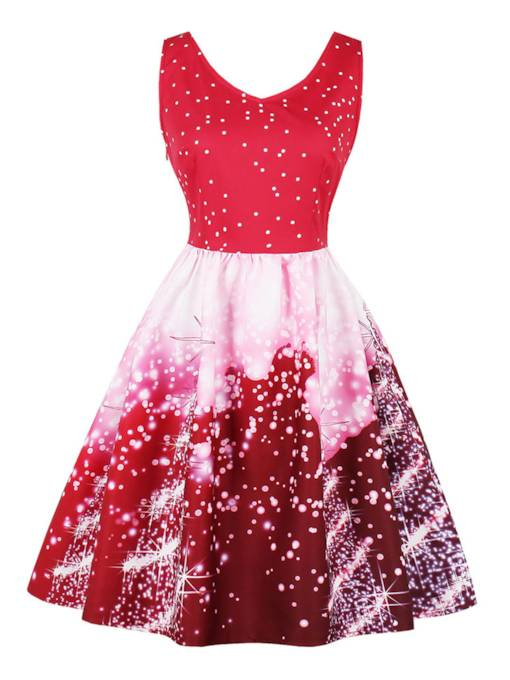 V Neck Polka Dots Women's Day Dress