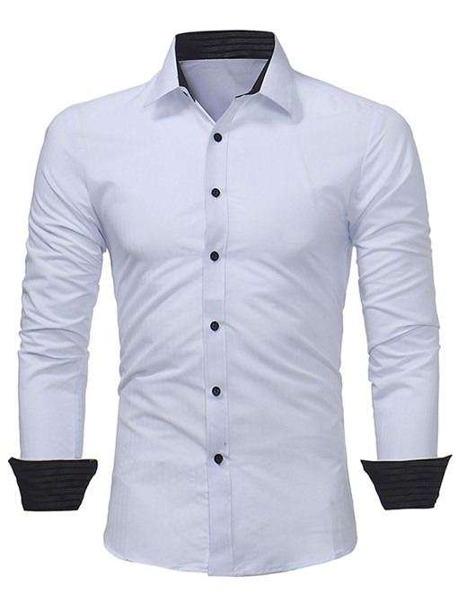 Lapel Solid Color Slim Fit Men's Dress Shirt