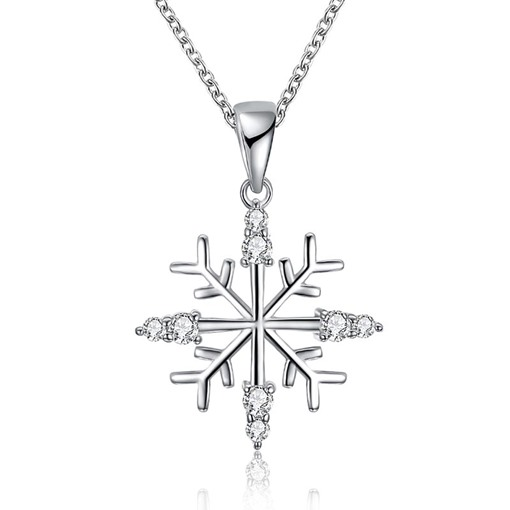 Christmas Bronze Zircon Inlaid Snowflake Diamante Necklace