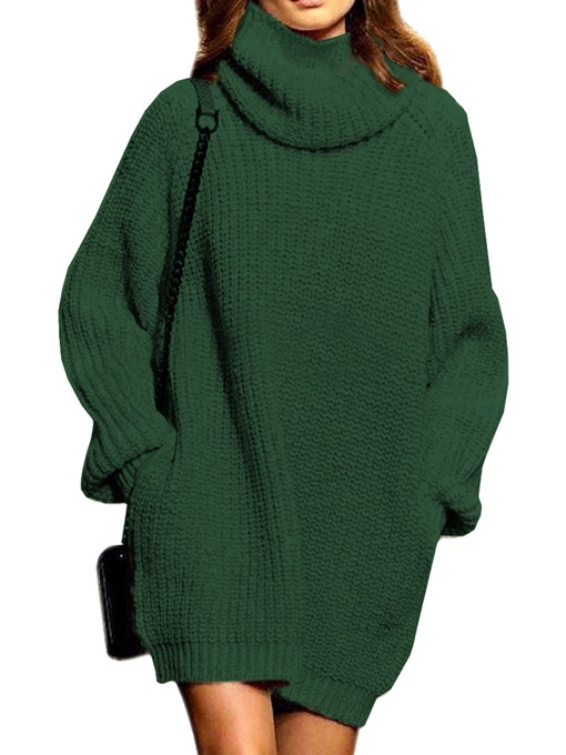 Plain Loose Turtle Neck Women's Sweater Dress