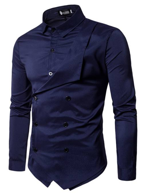 Lapel Double Button Patchwork Solid Color Slim Fit Men's Shirt