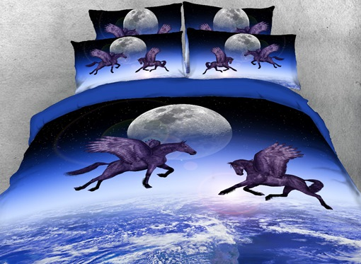 Flying Horse and the Moon Printed 4-Piece 3D Blue Bedding Sets/Duvet Covers