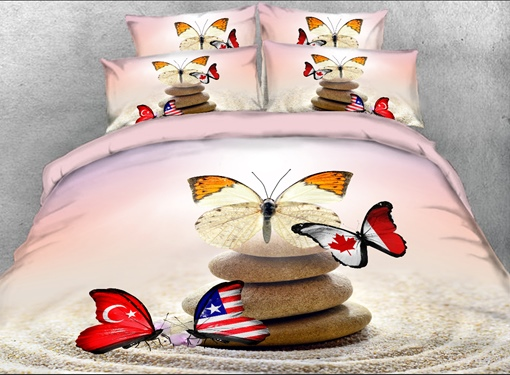 Flag Butterflies and Cobblestone Printed 4-Piece 3D Bedding Sets/Duvet Covers