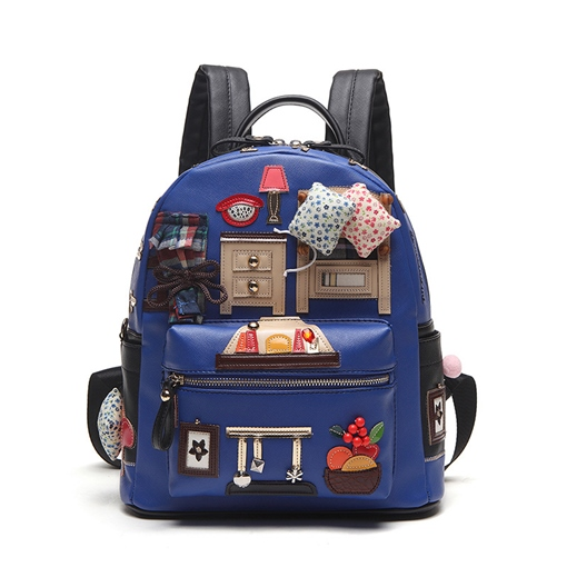 Cartoon Patchwork Women Backpack