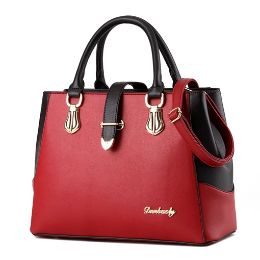 All Match Color Block Women Zipper Tote