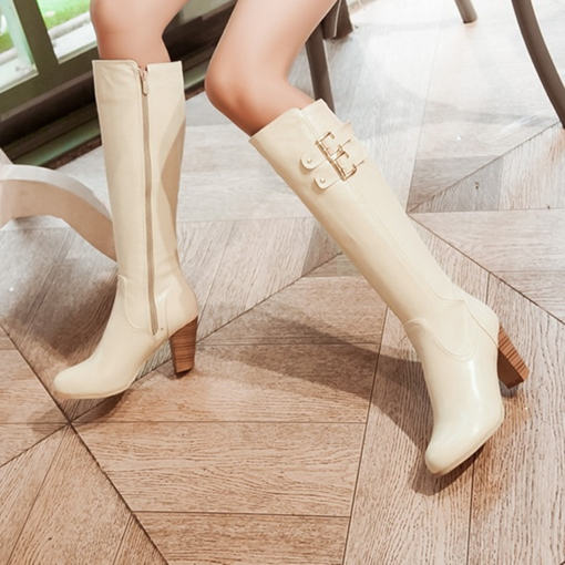Zipper Thick Heel Buckle Knee High Boots for Women( Plus Size Available)
