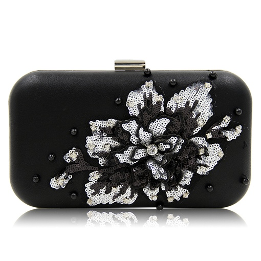 Shining Sequins Floral Pattern Evening Clutch