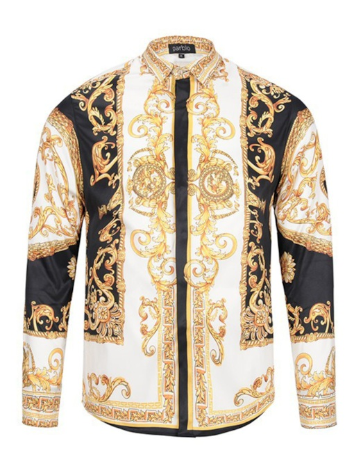 Lapel Golden Print Slim Men's Luxury Shirt