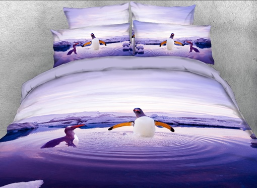 Penguins Playing in Water Printed 4-Piece 3D Bedding Sets/Duvet Covers