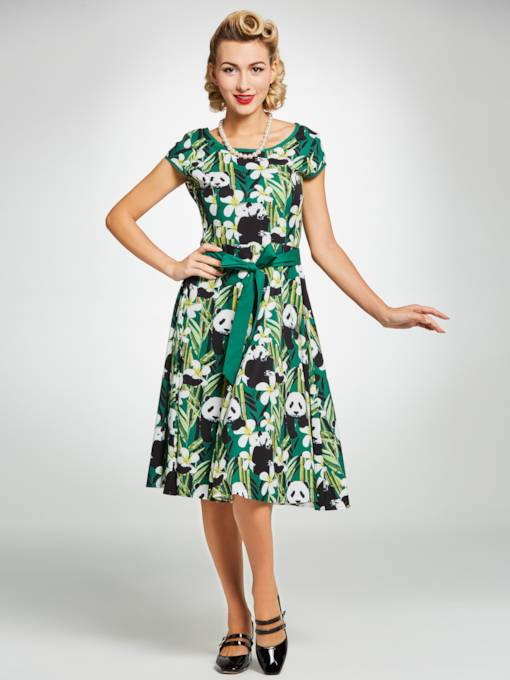 Green Panda Pattern Women's Day Dress