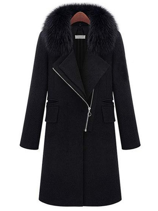 Detachable Faux Fur Collar Zipper Women's Thick Overcoat